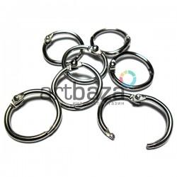 Набор канцелярских (полиграфических) металлических никелированных разъёмных колец для скрепления и переплета, ∅1.9 см., 7 штук