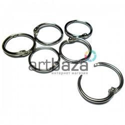 Набор канцелярских (полиграфических) металлических никелированных разъёмных колец для скрепления и переплета, ∅3 см., 6 штук