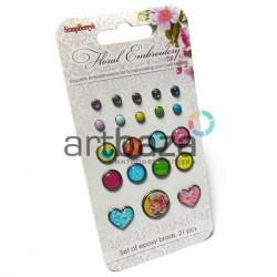 Набор брадсов для скрапбукинга Floral Embroidery - Цветочная вышивка, 21 штука, ScrapBerry`s