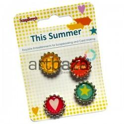 Набор декоративных пробок на двухстороннем скотче для скрапбукинга This Summer - Это лето, 4 штуки, ScrapBerry`s