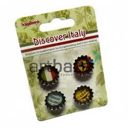 Набор декоративных пробок на двухстороннем скотче для скрапбукинга Discover Italy - Итальянские каникулы, 4 штуки, ScrapBerry`s