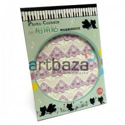 Уголки для альбомов и фотографий в скрапбукинге и кардмейкинге Photo Corners, зайка на розовом фоне, 24 штуки