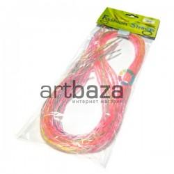 """Набор спиральных крестовидных трубочек для плетения """"Скубиду"""", прозрачные с неоновой нитью, длина 100 см., 10 штук"""