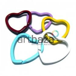 Набор колец цветных для ключей и брелков в виде сердца, 3 x 3.2 см., 5 штук, REGINA