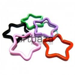 Набор колец цветных для ключей и брелков в виде звезды, ∅3.4 см., 5 штук, REGINA