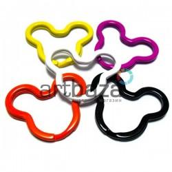 Набор колец цветных для ключей и брелков в виде Микки Мауса, 3.8 x 3 см., 5 штук, REGINA
