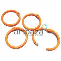 Набор колец металлических оранжевых для переплета (скрапбукинга), разъёмных, Ø3 см., 4 штуки, REGINA