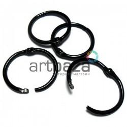 Набор колец металлических черных для переплета (скрапбукинга), разъёмных, Ø3 см., 4 штуки, REGINA