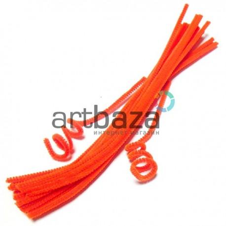 Оранжевая пушистая проволока шенил (синельная проволока, декоративный ёршик)