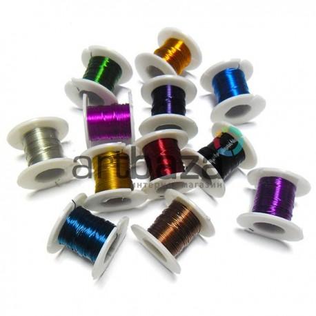Набор цветной проволоки для бисера и бижутерии (Ø0.2 мм., 3.5 м., 12 штук)