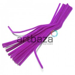 Фиолетовая пушистая проволока шенил (синельная проволока, декоративный ёршик)