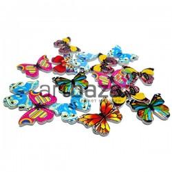 """Набор деревянных декоративных пуговиц """"Бабочки"""", 2.8 x 2 см., 15 штук, REGINA"""