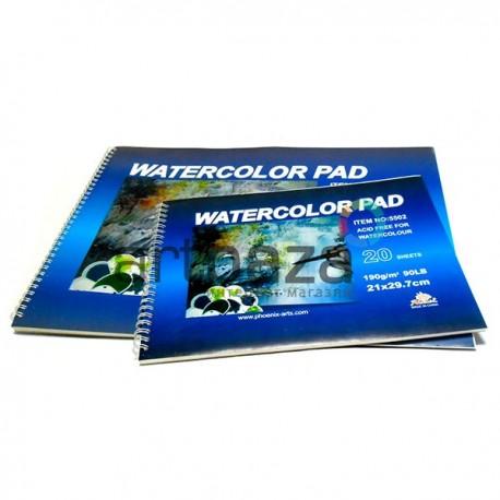 Папка - альбом бумаги для акварели на спирали, 210 x 297 мм., 190 гр./м2., 20 листов, Phoenix