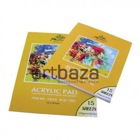 Альбом - склейка бумаги для акриловых работ, 210 x 297 мм., 230 гр./м2., 15 листов, Phoenix