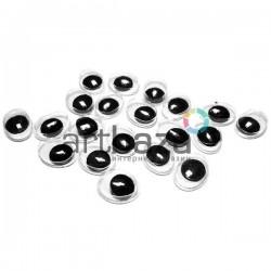 Набор косых глазок с бегающим (подвижным) зрачком для игрушек и кукол, 9 x 7 мм., 20 штук