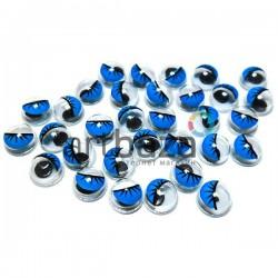 Набор голубых глазок с ресницами и бегающим (подвижным) зрачком для игрушек и кукол, Ø6 мм., 30 штук