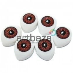 Набор карих глазок с радужным зрачком для игрушек и кукол, 14 x 10 мм., 6 штук