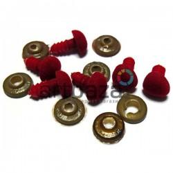 Набор красных носиков для игрушек и кукол с креплением, Ø1 см., длина ножки 1.2 см., 6 штук