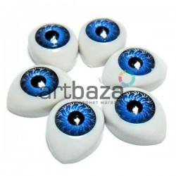 Набор голубых глазок с радужным зрачком для игрушек и кукол, 14 x 10 мм., 6 штук