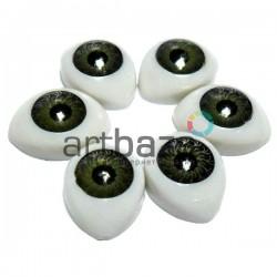 Набор зеленых глазок с радужным зрачком для игрушек и кукол, 14 x 10 мм., 6 штук