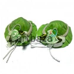 Набор салатовых декоративных фетровых шляпок, Ø6 см., 2 штуки