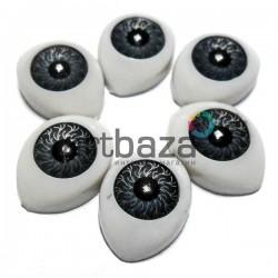 Набор серых глазок с радужным зрачком для игрушек и кукол, 14 x 10 мм., 6 штук