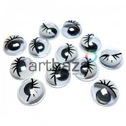 Набор черно - белых глазок с ресницами и бегающим (подвижным) зрачком для игрушек и кукол, Ø1 cм., 12 штук