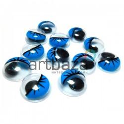 Набор голубых глазок с ресницами и бегающим (подвижным) зрачком для игрушек и кукол, Ø1 cм., 12 штук