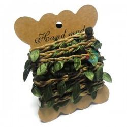 Шнур декоративный с вплетенными зелеными листьями, толщина - 2 см., длина - 2.5 м., REGINA