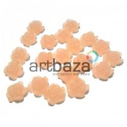 Набор телесных декоративных акриловых камей - розочек, Ø7 мм., 20 штук, REGINA
