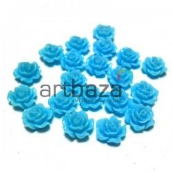 Набор голубых декоративных акриловых камей - розочек, Ø7 мм., 20 штук, REGINA