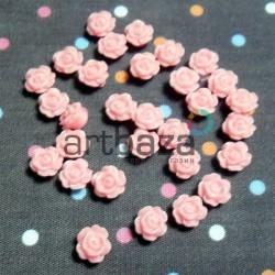 Набор розовых декоративных акриловых камей - розочек, Ø6 мм., высота 3 мм., 30 штук, REGINA