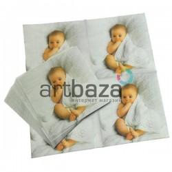 """Салфетка для декупажа """"Малыш в полотенце"""", 33 x 33 см., 20 штук, REGINA"""