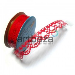 "Лента самоклеящаяся ""Сердце красное"" трафаретная, ширина 18 мм., длина 1 м."