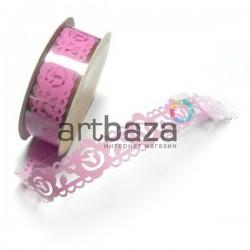 """Лента самоклеящаяся """"Цветок в узоре бледно - розовый"""" трафаретная, ширина 18 мм., длина 1 м."""