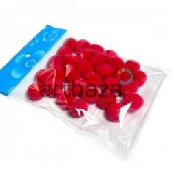 Набор декоративных помпонов для творчества и поделок, красных, Ø1.5 см., REGINA