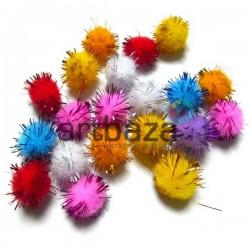 Набор декоративных помпонов для творчества и поделок, цветных, блестящих, Ø2 см., REGINA