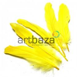 Набор натуральных декоративных перьев, желтых, 20 - 23 см., 5 штук, REGINA