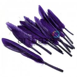 Набор натуральных декоративных перьев, фиолетовых, 12 - 15 см., 12 штук, REGINA