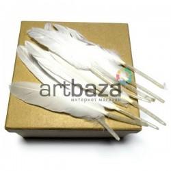 Набор натуральных декоративных перьев, белых, 12 - 15 см., 10 штук, REGINA