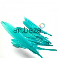 Набор натуральных декоративных перьев, светло - зеленых, 12 - 15 см., 12 штук, REGINA