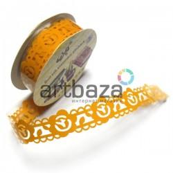"""Лента самоклеящаяся """"Цветок в узоре оранжевый"""" трафаретная, ширина 18 мм., длина 1 м."""