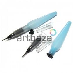 Акварельная кисть - ручка с резервуаром Water Brush, для каллиграфии и растушёвки, заправляемая, 14.3 cм., средняя
