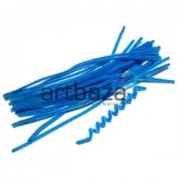 Синяя пушистая проволока шенил (синельная проволока, декоративный ёршик)