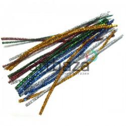 Цветная блестящая пушистая проволока шенил (синельная проволока, декоративный ёршик)