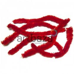 Красная меховая пушистая проволока шенил (синельная проволока, декоративный ёршик)