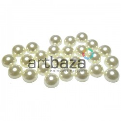 Набор белых декоративных перламутровых полубусин под жемчуг, Ø1 см., 25 штук, REGINA