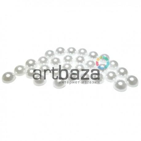 Набор белых декоративных перламутровых полубусин под жемчуг, Ø7 мм., 25 штук, REGINA
