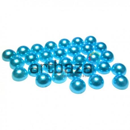 Набор синих декоративных перламутровых полубусин под жемчуг, Ø7 мм., 30 штук, REGINA