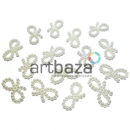 Набор белых декоративных бантиков перламутровых (бисерных) из бусинок, 2 см., 15 штук, REGINA